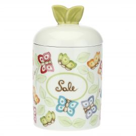 """Farfalle in Festa"" porcelain salt jar"