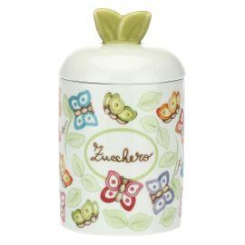 """Barattolo porta zucchero in porcellana """"Farfalle in festa"""""""