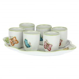 "Set of 6 small ""Farfalle in Festa"" porcelain beakers with tray"