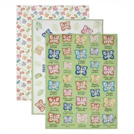 "Set of 3 ""Farfalle in Festa"" tea towels"