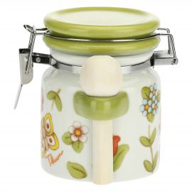 Country sugar jar with wooden spoon