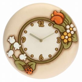 Country wall clock with lucky ladybird