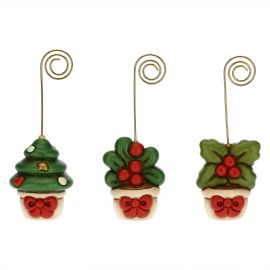 Set of 3 ceramic placeholders: tree mistletoe and holly