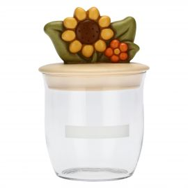Country jar with sunflower