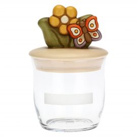 Country jar with butterfly and flower