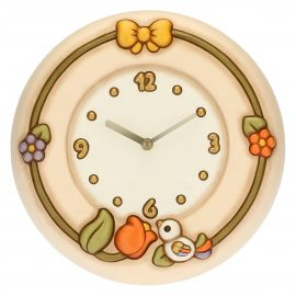 Country wall clock with tulip and bird