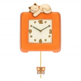 Country pendulum clock with cat