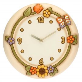 Country wall clock with flowers and butterfly