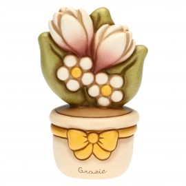 Flowerpot ornament with flowers - Thank You