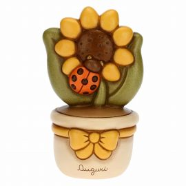 Flowerpot ornament with sunflower and ladybird - Best Wishes