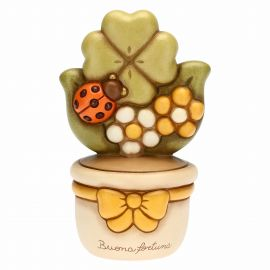 Flowerpot ornament with four-leaf clover and ladybird - Good Luck
