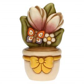 Vasetto soprammobile con farfalla e fiori