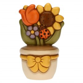 Flowerpot ornament with ladybird and flowers
