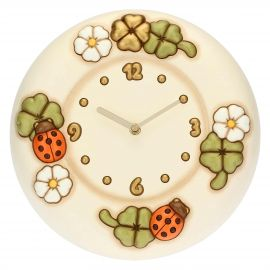 Wall clock with flowers, ladybirds and lucky four-leaf clovers