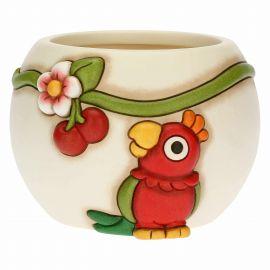 Coprivaso con pappagallo Yucatan in ceramica