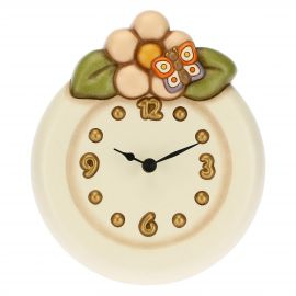 Wall clock with butterflies and flower