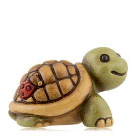 Tartaruga piccola in piedi con coccinella