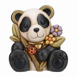 Panda with flowers and lucky ladybird