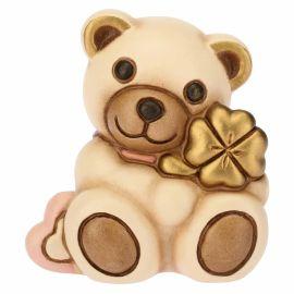 Teddy mini con quadrifoglio rosa