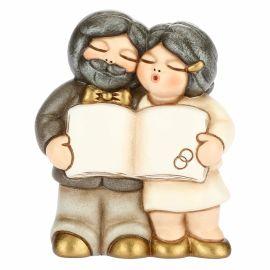 Coppia sposini piccoli nozze d'oro con pergamena personalizzabile