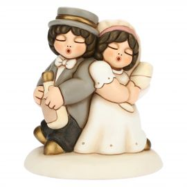 Cake topper coppia sposini medi brindisi