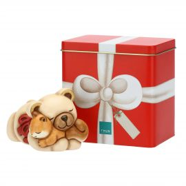 Small Teddy and squirrel with tin box