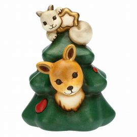 Christmas tree with fawn and squirrel