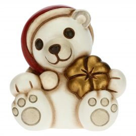 Paul the Polar Bear with lucky four-leaf clover