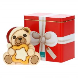 Christmas Teddy with star and tin box