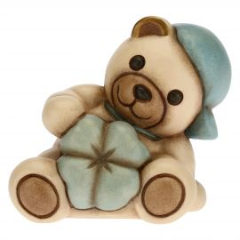 Blue Teddy with lucky four-leaf clover