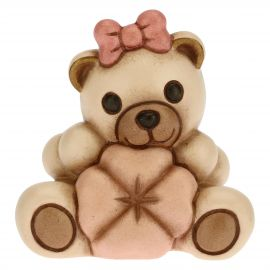 Pink Teddy with lucky four-leaf clover