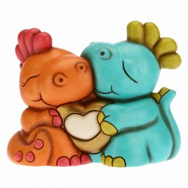 Couple of little dinosaurs in love