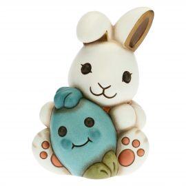 Coniglio Joy amorevole con uovo azzurro