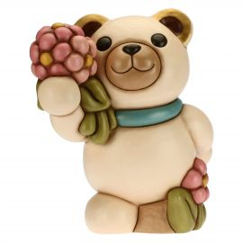 Spring Teddy with bouquet of flowers