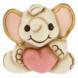 Kleiner Elefant zur Geburt mit rosa Herz