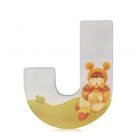 Lettera J in legno da parete con adesivo