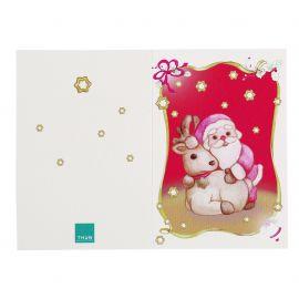 Greeting card Santa Claus with reindeer