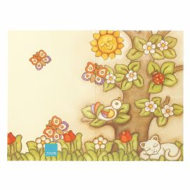Country greeting card with tree