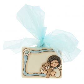 "Coccarda nascita in ceramica ""Angel boy"" personalizzabile"