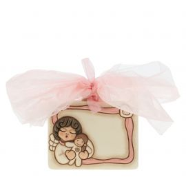 "Coccarda nascita in ceramica ""Angel girl"" personalizzabile"