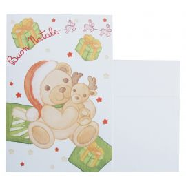 Greeting card Teddy with reindeer