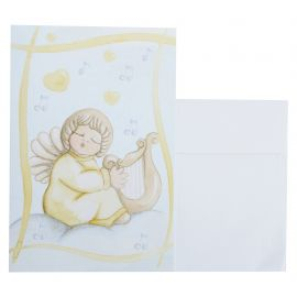 Greeting card angel with harp