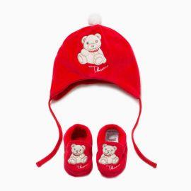 Cappello e scarpette in cotone Teddy 6 mesi