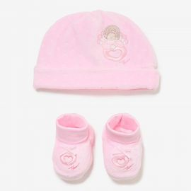 THUN & OVS pink hat and shoes in pure cotton Angels