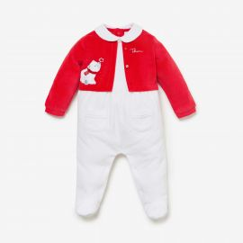 THUN & OVS red baby suit 6 months chenille Polar bear