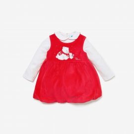 THUN & OVS red baby suit 3 months chenille Polar bear