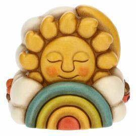 Carillon in ceramica con sole, arcobaleno e luna