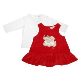 """Completo bimba con abito rosso 0-3 mesi THUN & OVS in ciniglia """"Il mio primo Natale"""""""