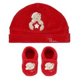 """Cappello e scarpine rosse unisex THUN & OVS in ciniglia """"Il mio primo Natale"""""""