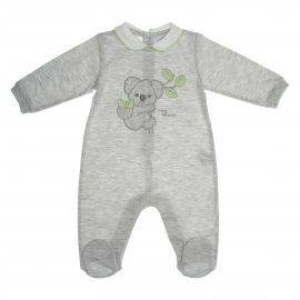 Pagliaccetto grigio bimbo con bottoni 1-3 mesi THUN & OVS ciniglia Koala